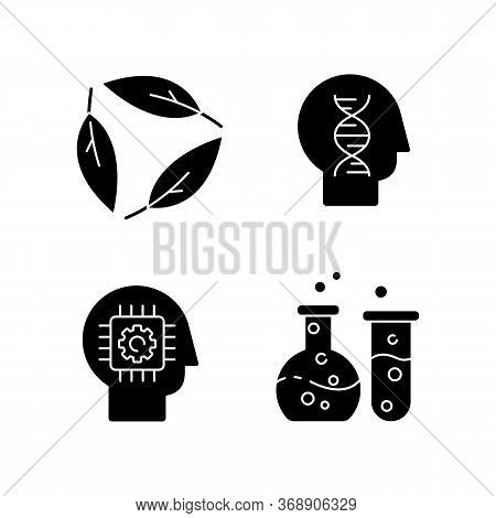 Modern Sciences Black Glyph Icons Set On White Space. Formal And Natural Scientific Disciplines Silh