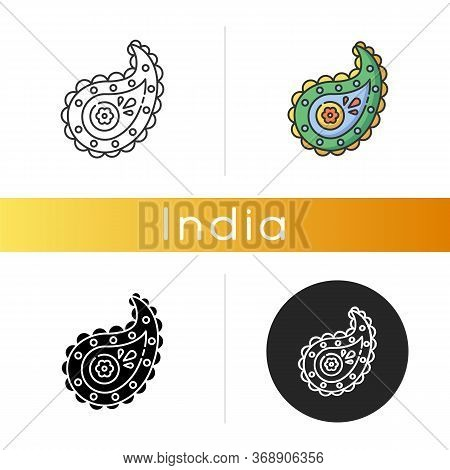 Paisley Pattern Icon. Pine Cone Shape. Zoroastrianism Religion. Cypress Tree. Symbol Of Life And Ete