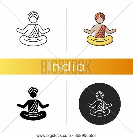 Yogi In Turban Icon. Practitioner Of Yoga. Physical And Mental Practices. Meditating Monk. Man In Lo