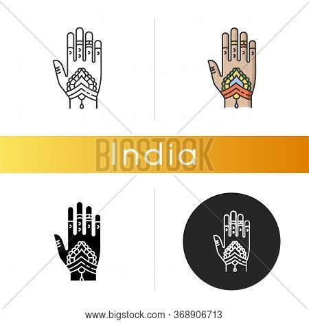 Mehndi Icon. Indian Tradition. Body Art. Decorative Designs On Hand. Henna Drawings. Tattoo Artwork.