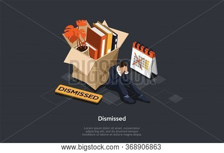 World Financial Crisis Concept. Desperate Employee Lost A Job. Sad Character Is Sitting And Covering