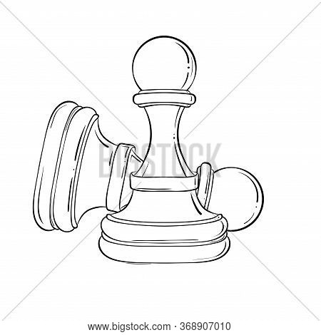 Line Art Drawing Of Chess Pieces Minimalist Design Isolated On White Background. Pawn In Sketch Styl