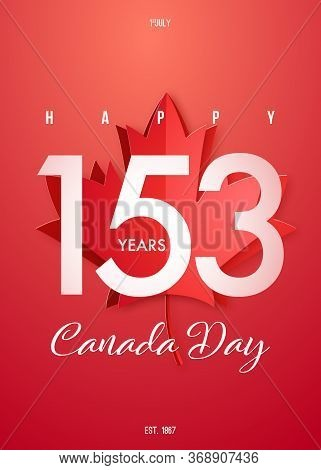 Happy Canada Day Poster. Vector Design For 1st Of July Canada Independence Day With Maple Leaf