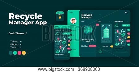 Waste Disposal Manager App Screen Vector Adaptive Design Template. Recycling Application Night Mode