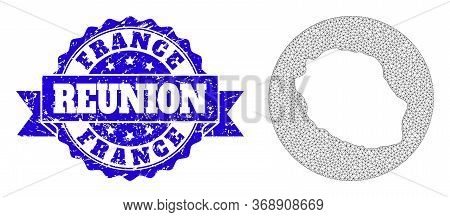 Mesh Vector Map Of Reunion Island With Grunge Stamp. Triangular Network Map Of Reunion Island Is Car