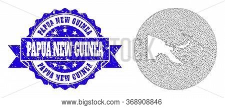 Mesh Vector Map Of Papua New Guinea With Scratched Seal Stamp. Triangular Mesh Map Of Papua New Guin