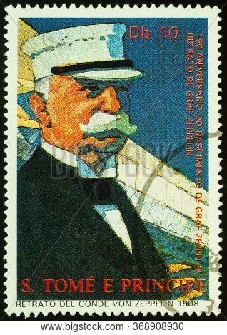 Moscow, Russia - May 30, 2020: Stamp Printed In Sao Tome And Principe Shows Portrait Of Ferdinand Gr