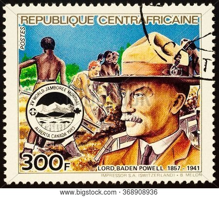 Moscow, Russia - May 31, 2020: Stamp Printed In Central African Republic Shows Portrait Of Robert Ba