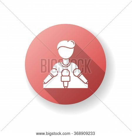 Spokesperson Red Flat Design Long Shadow Glyph Icon. Press Conference. Speaker On Podium With Microp