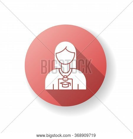 Intern Red Flat Design Long Shadow Glyph Icon. Corporate Training For Trainee. Instruction In Compan
