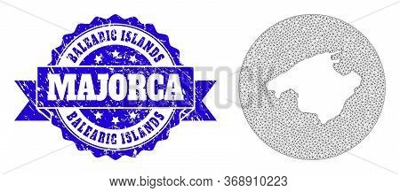 Mesh Vector Map Of Majorca With Grunge Seal Stamp. Triangle Mesh Map Of Majorca Is Subtracted From A