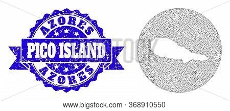 Mesh Vector Map Of Pico Island With Scratched Stamp. Triangular Mesh Map Of Pico Island Is Carved In