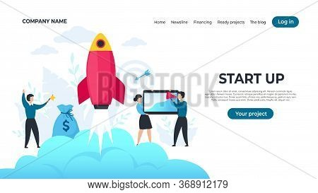 Start Up Landing Page. Trendy Entrepreneur Characters Starting Project, Successful Strategy Concept.