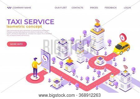 Isometric Taxi Landing Page. City Map Website With Destination Points, Car Rent And Food Delivery Se