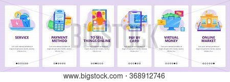 Online Shopping Concept Icon Set. Support By Phone, Pos Terminal, Pay By Credit Card. Mobile App Scr