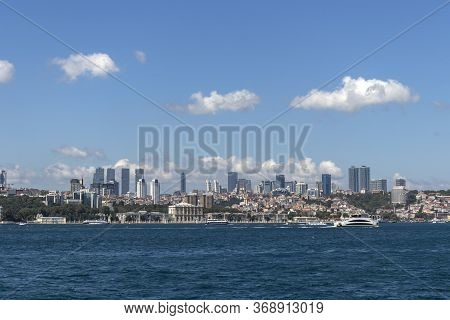 Istanbul, Turkey - July 27, 2019: Panoramic View From Bosporus To City Of Istanbul, Turkey