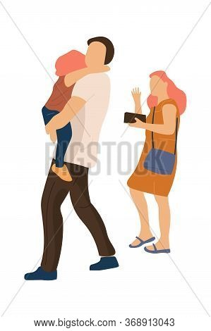 Trendy Family Walking. Happy Mother And Father, With Baby In Her Arms, Walk Together. Vector Modern