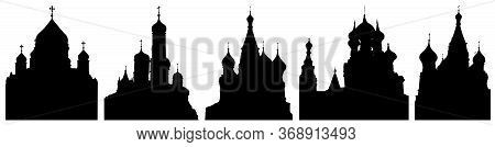 Cathedrals Or Churches Of Moscow In Russia, Set Of Silhouettes. Vector Illustration