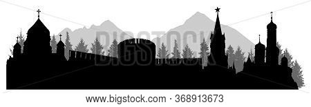 Russia, Silhouette Of Kremlin Palace, Fortress, Cathedral, Forest And Mountains. Vector Illustration