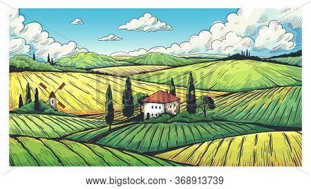 Countryside Landscape. Organic Farm Field Sketch With Rural Farmhouse, Fields On Hills And Village.