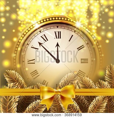 Twelve Oclock On New Years Eve In Colored Gold Glittered Background With Gold Bow And Fir Tree Branc