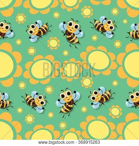 Bees Swarm. Flowers Glade, Bees Fly Among The Flowers. Green Background. Seamless Pattern With Cute