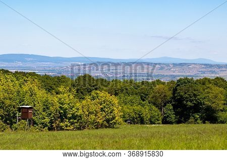 Wide Angle View At Landscape With Forest And Hight Seat From Rotenfels, Bad Muenster Am Stein, Rhine