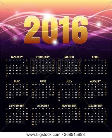Calendar For 2016 On Abstract Golden Shiny Background. Week Starts Sunday. Stylish Black Vector Temp