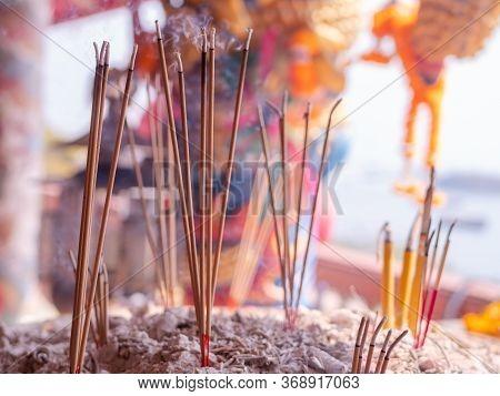 Joss Sticks At The Chao Pho Khao Yai Shrine, A Chinese Style Buddhist Temple On Ko Sichang, An Islan