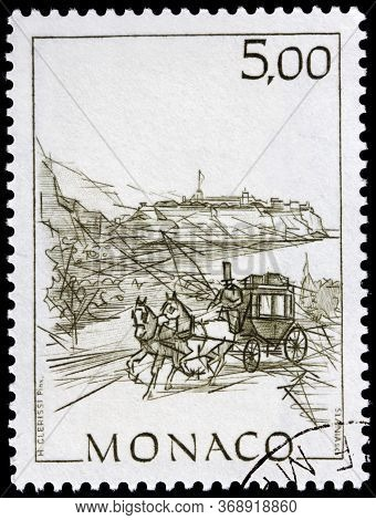 Luga, Russia - April 10, 2020: A Stamp Printed By Monaco Shows Ancient Postal Carriage, Circa 1986.