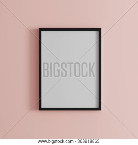 Blank Frame On Light Pink Wall Mock Up, Vertical Black Poster Frame On Wall,  Picture Frame Isolated