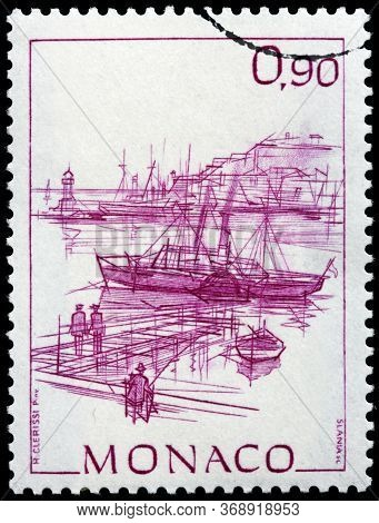 Luga, Russia - April 10, 2020: A Stamp Printed By Monaco Shows View Of Landing Place In The Monaco H