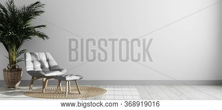 Bright Modern Room Interior With Gray Armchair And Palm Tree, Empty Room Interior Background, White