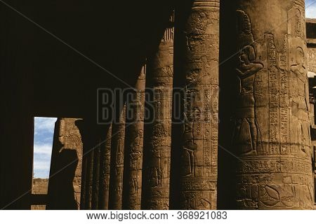 Columns Covered By Hieroglyphics Carved In Bas-relief By The Ancient Egyptians In A Temple Near Aswa