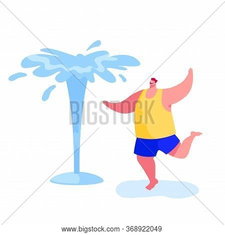 Happy Barefoot Man Splashing And Playing With Water In Hot Summer Time Season Weather. Male Characte