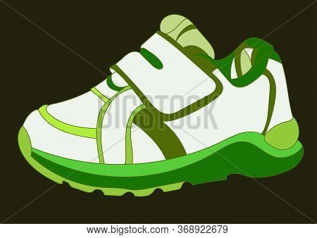 Green Sneakers Realistic Footwear Set. Fashionable Sneakers