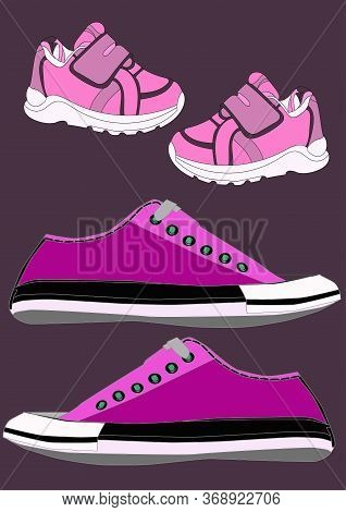 Sneakers And Loafers Realistic Footwear Set For Babygirl And Woman. . Fashionable Sneakers.
