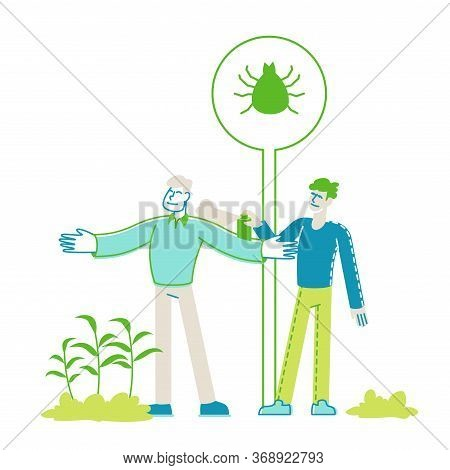 Man Spraying Insecticide On Friend From Huge Aerosol Bottle. Characters Protect Themselves From Mite