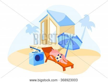 Man Character Lounging And Listening Radio Music On Chaise Lounge Under Sun Umbrella And Palm Tree O