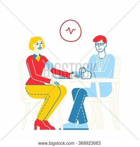 Male Doctor Endocrinologist Character Measuring Arterial Blood Pressure With Tonometer To Female Pat