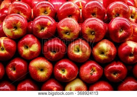 Fresh And Healthy Foods For Every Day Diet. Apples At The Supermarket Counter.