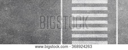 Abstract Image Aerial View Of White Pedestrian Crosswalk Or Zebra Crossing On Asphalt Road Isolated