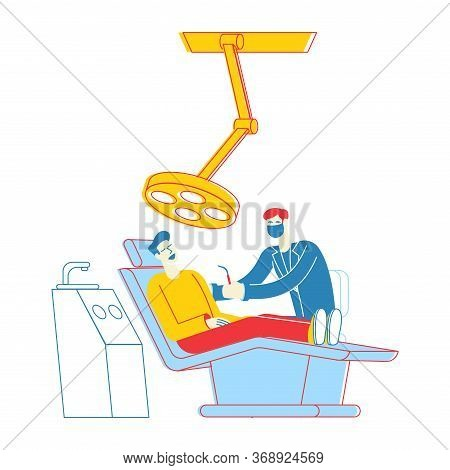 Man Patient Lying In Medical Chair In Stomatologist Cabinet With Equipment. Doctor Character Conduct