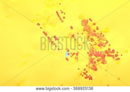 Random Color Oil Paint Splashes On Yellow Paper. Seamless Colorful Background. Oil Paint Dots On Blu