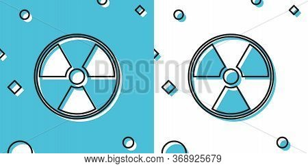 Black Radioactive Icon Isolated On Blue And White Background. Radioactive Toxic Symbol. Radiation Ha