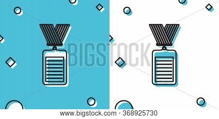 Black Identification Badge With Lanyard Icon On Blue And White Background. Identification Card. It C