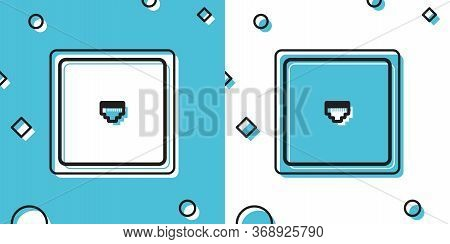 Black Ethernet Socket Sign. Network Port - Cable Socket Icon Isolated On Blue And White Background.