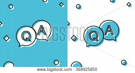 Black Question And Answer Mark In Speech Bubble Icon Isolated On Blue And White Background. Q And A