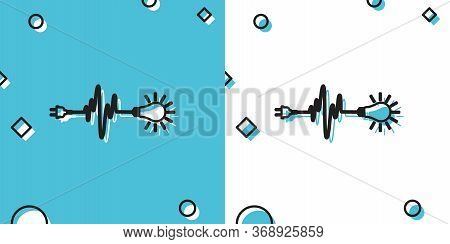 Black Wire Plug And Light Bulb Icon Isolated On Blue And White Background. Plug, Lamp And Cord In Th