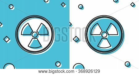 Black Radioactive Icon Isolated On Blue And White Background. Radioactive Toxic Symbol. Radiation Ha